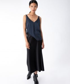 hana black silk skirt