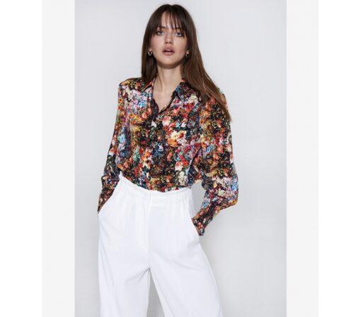 flower leopard blouse